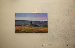 4-A perfect day, Immersione, dettaglio installazione olio su tela, olio su scotch, 134 x 83 cm., spolvero a parete, 2015_16