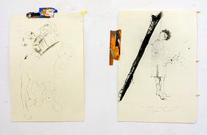 2- I terribili disegni della morte, 13 disegni, olio su scotch, fusaggine su carta, 23 x 33 cm., 2015-16