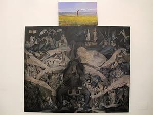 1- Quadro +, 220 x 180 cm olio e spray su tela; olio su tela, 56 x 78 cm. 2015