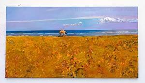 5-A perfect day, Ultimo giorno, dettaglio dell'installazione, olio su tela, pigmento, 147 x 87 cm., spolvero a parete, 2015_16